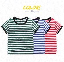 Children's shirt blue T-shirt 2019 new boys and girls children baby cotton shirt striped short-sleeved T-shirt 2 4 6 8 Years стоимость
