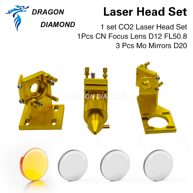 K Series CO2 Laser Head Set For 2030 4060 K40 Laser Engraving Cutting Machine Focusing Lens And Reflective Mirrors Kit