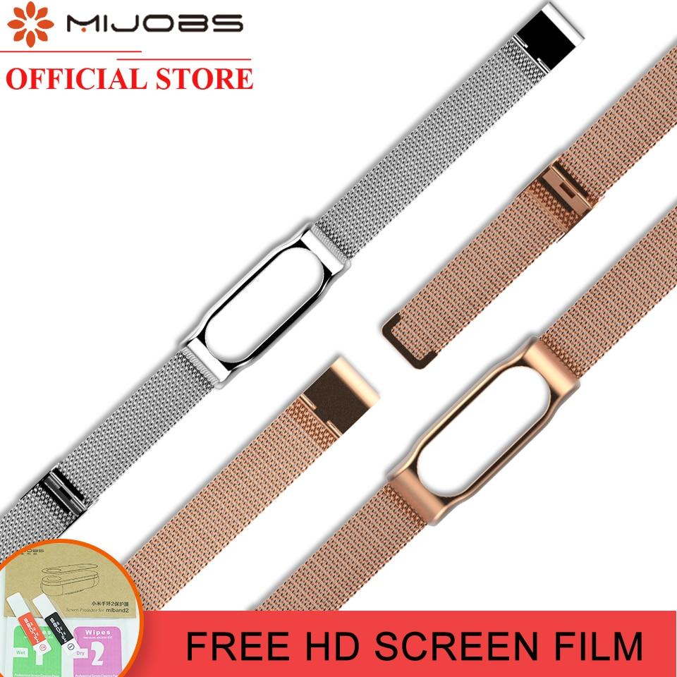 Mijobs Cinturino In Metallo Per Xiaomi Mi Band 2 Smart Watch Senza Viti Bracciale in Acciaio inossidabile Mi Band 2 Cinghia per Miband 2 Braccialetti