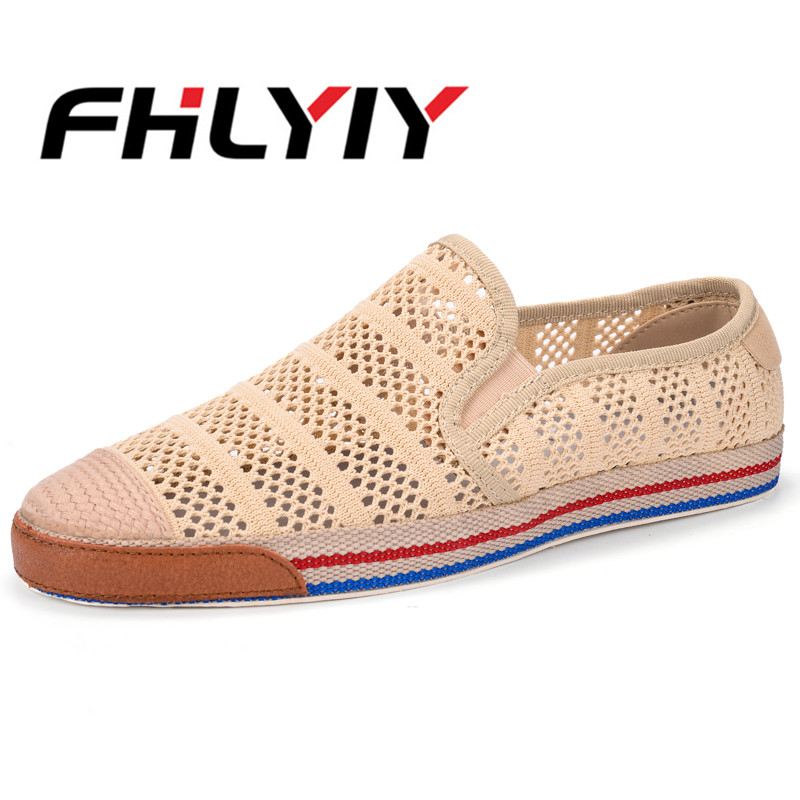 Men Slip on Summer Breathable Sandals Street Style Hollow Beach Casual Shoes FHLYIY
