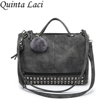 Quinta Laci Vintage Nubuck Leather Top-handle Bags Rivet Larger Women Bags All-match Shoulder Bag Motorcycle Messenger Bags