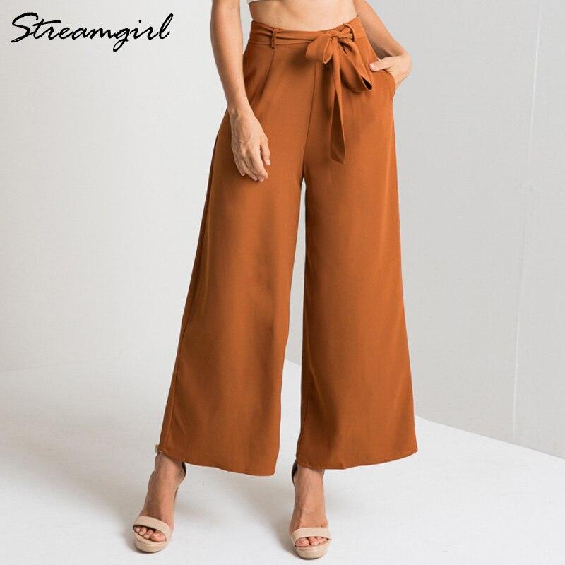 Pantalones de pierna ancha para mujer elegantes pantalones femeninos 2018 otoño cintura alta Capri cinturón suelto chifón pantalones casuales mujeres Oficina lisa