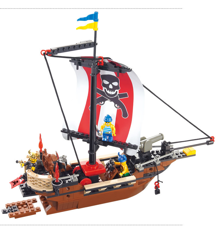 226pcs Building Bricks the Caribbean Pirates ship series Model toys  for DIY Children Educational Puzzle toy for boy