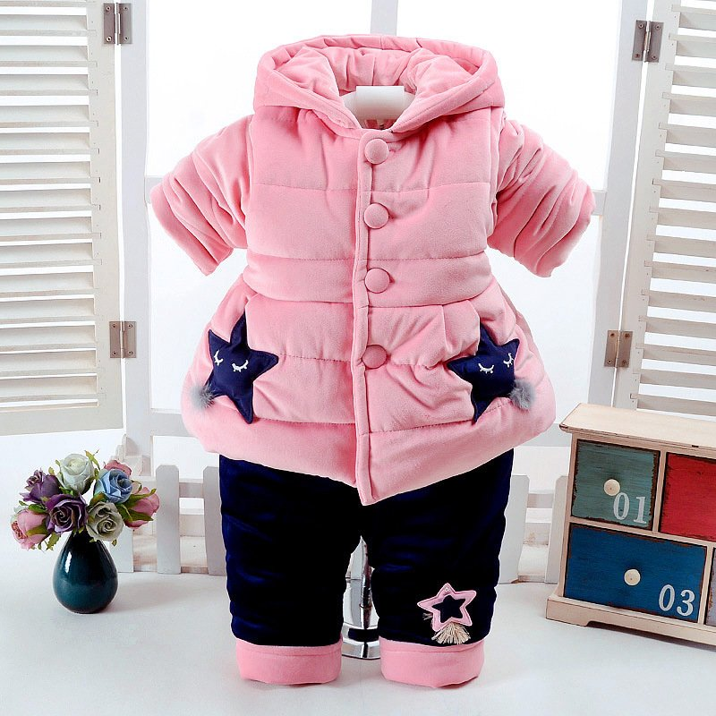 Winter 0-2Y Cotton Girl Coat + Pants Sets Warm Newborn Tracksuit Kids Clothes Quality Casual Children Clothing Thicken Baby Suit puma puma green