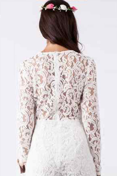 2f1cbf3ecbb Black Alluring Deep V Neck Long Sleeve Lace Romper Hollow Out Women  Playsuits Lace Long Sleeve Sexy Party Jumpsuits Short Romper-in Rompers  from Women s ...