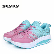 Mesh Breathable Women Toning Shoes Miexed Color Lacing Wedge font b Loss b font font b