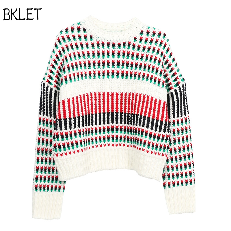 new arrival Striped Luxury Design 2017 Top Knitted Pullover Women Woven Color Keep Warm Chic Runway Sweater