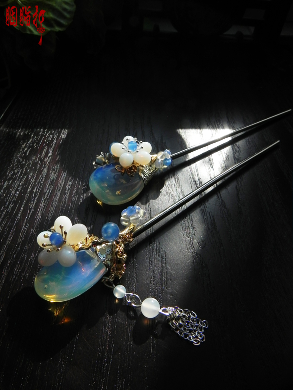 ФОТО Opal Stone Pair of Hair Sticks NiShangMeng Vintage Handmade Hanfu Hair Stick 1 pair Vintage Chinese Original Hair Sticks