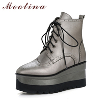 Meotina Women Ankle Boots Casual Wedge Heels Lace Up Female Autumn Boots High Heels Women Winter