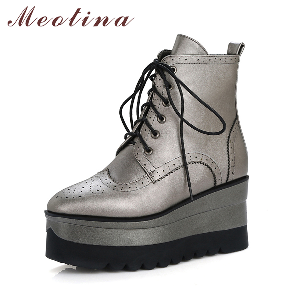 Meotina Women Ankle Boots Punk Platform Wedge Heels Short Boots Winter Boots Zip High Heels Women Autumn Shoes White Size 34-39 nayiduyun women casual shoes low top platform wedge high heels boots round toe slip on pumps punk chic shoes black white sneaker