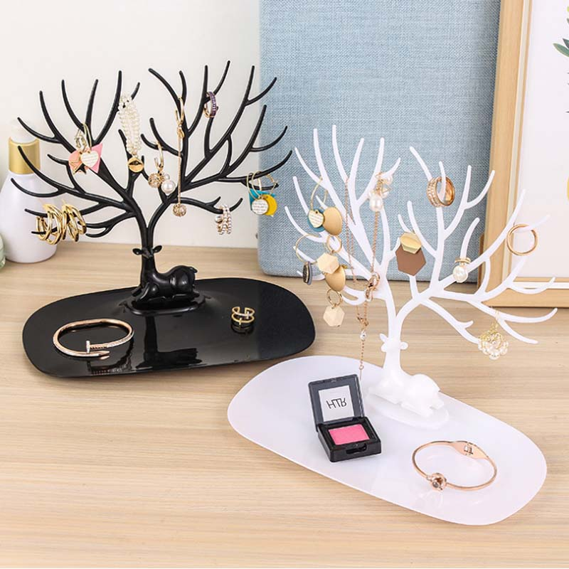 Mordoa Deer Earrings Necklace Ring Pendant Bracelet Jewelry Display Stand Tray Tree Storage Jewelry Organizer Holder A02