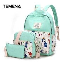 Temena 3 шт./компл. Для женщин рюкзак школьный корейской Рюкзак Школьные сумки для подростка Обувь для девочек студент мешок Набор Холст Рюкзаки BBP344