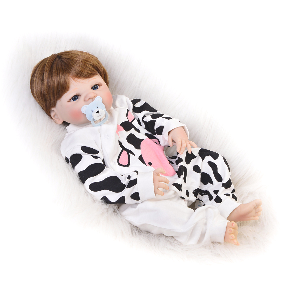 2018 Hot Sale Reborn Dolls Babies 23 Full Silicone Vinyl Cosplay Milk Cow DIY Baby Toys Kids Birthday Gifts For Girl hot sale 12cm foreign chavo genuine peluche plush toys character mini humanoid dolls
