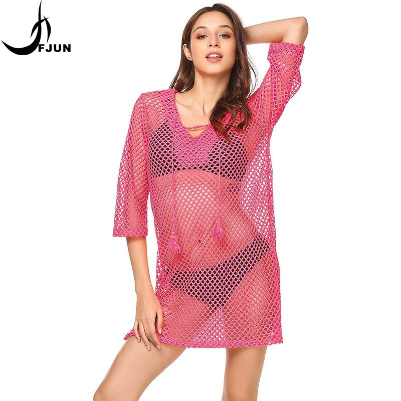 FJUN Dress hollow Out Women Sexy Dress Plaid Half Sleeve Hot New Fashion 2018 V-neck Half Sleeve S-XXL Size Sexy Free Shipping