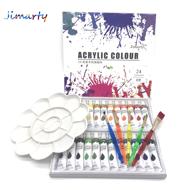 Water-resistant 24 Colors 12ML Tube Acrylic Paint set color with 5paint brush palette Art Painting paint  fabric Drawing set