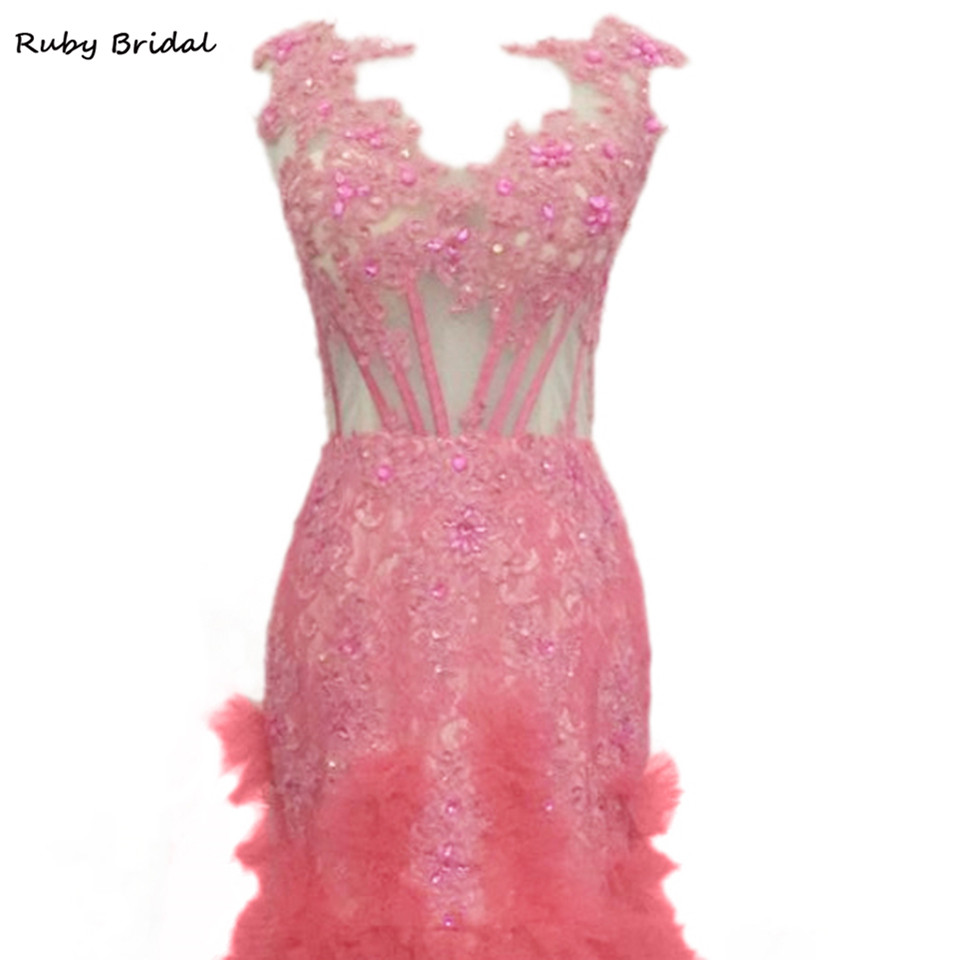 Ruby Bridal Vestidos De Fiesta Long Pink Tulle Appliques Beaded Prom ...