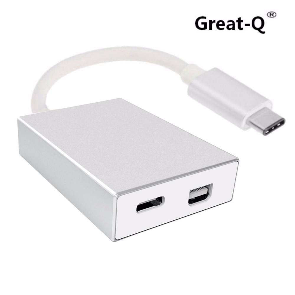 Great-Q  USB-C USB 3.1 Type C to Mini Displayport DP & USB OTG & USB-C Female Charger Adapter for Laptop & Macbook usb3 1 usb type c to displayport dp 4k cable adapter 1 8m black for new macbook hdtv projector monitor display 2017 hot product