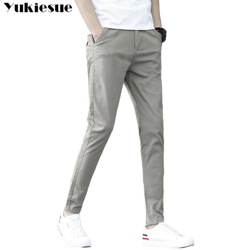 Mens Pants High Quality Cotton Casual Pants Stretch male trousers man long pencil pants for men color Plus size pant suit 28-38