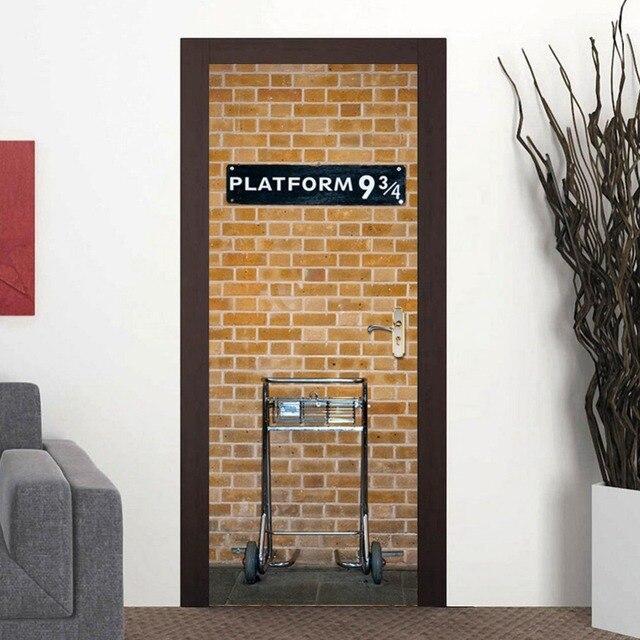 Attractive Creative Door Stickers PVC Waterproof Bedroom Living Room Self Adhesive  Wallpaper