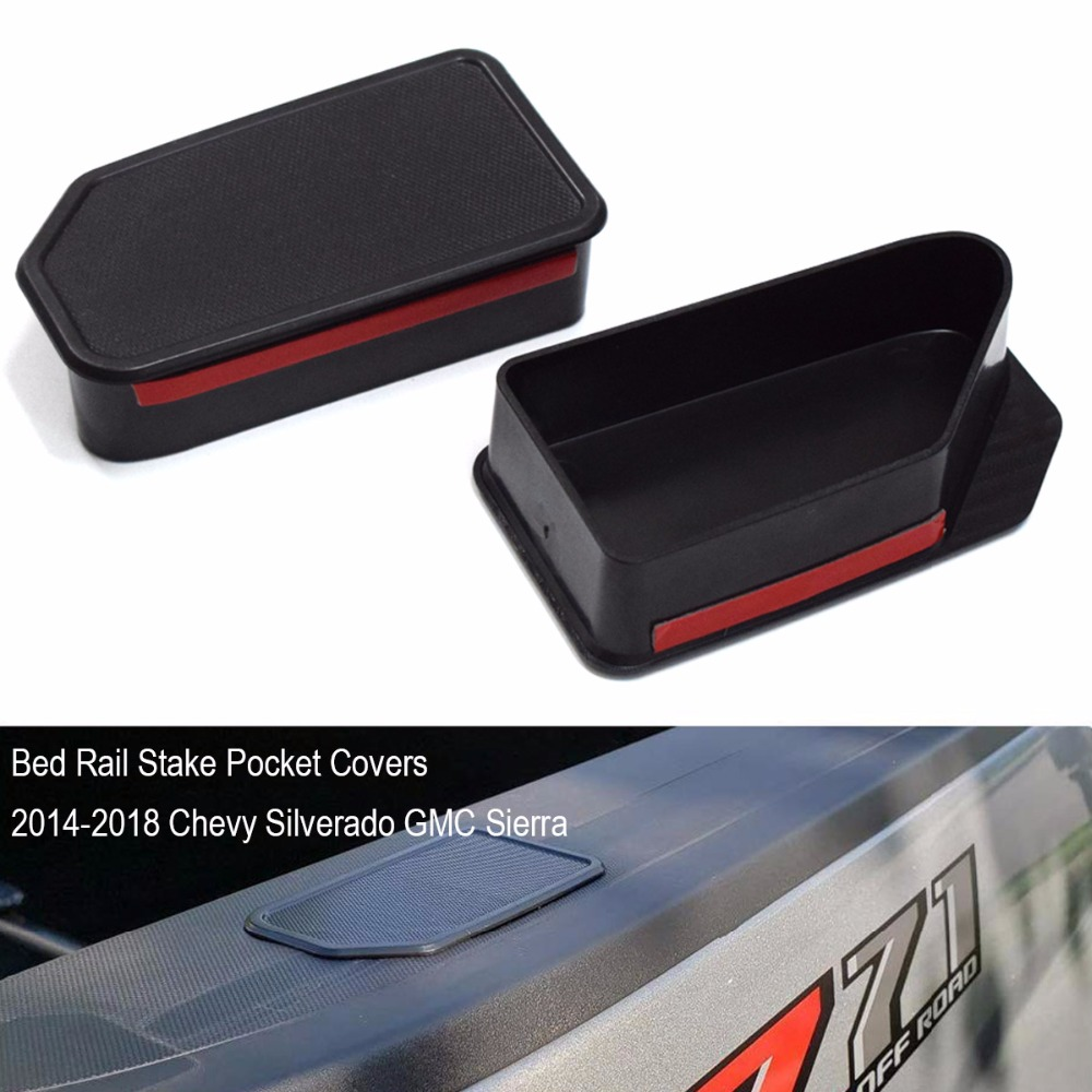 1 Pair Pocket Covers For Chevy Silverado GMC Sierra Stake Hole Plugs 2014-2018 Truck Bed Rail Stake Pickup Odd Shaped Holes Caps