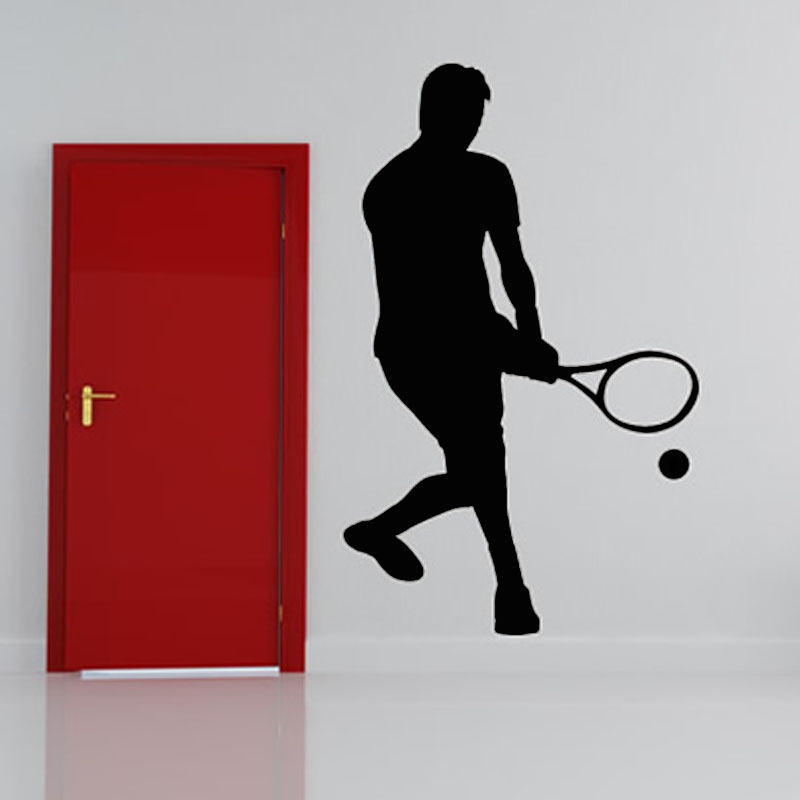 New Arrival 2015 Home Decor Vinyl Removable Wall Decal Self Adhesive Low Serve Tennis Wall Sticker For Living Room