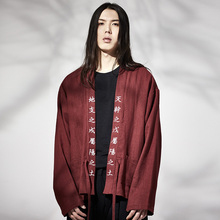 Chinese Han costume male long sleeved linen shirts with cotton blouse Hanfu Linen Cotton Tang suit only tops