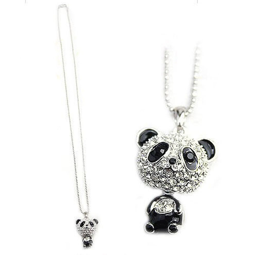 Cute Peach Owl Long Necklace Rhinestone Bead Pendant Women Chain Christmas Gift