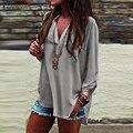 Негабаритных 2016 Лето ZANZEA Женщины Vintage Блузки Sexy V Шеи длинные Roll Up Рукава Твердые Рубашка Случайные Свободные Шифон Blusas топы