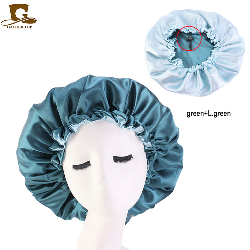 New Reversible Satin Bonnet Double Layer Adjustable Size Sleep Night Cap Head Cover Bonnet Hat For For Curly Springy Hair Black