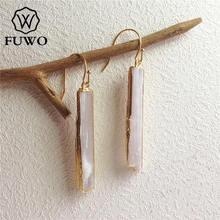 FUWO naturalne kolczyki selenit 24K złota galwanicznie surowy selenit kamień kryształowe ostrze dynda kolczyki elegancka biżuteria ER004