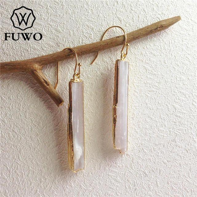 Fuwo brincos de selenite natural 24k, joias elegantes com lâmina de cristal, prato de ouro, selenite