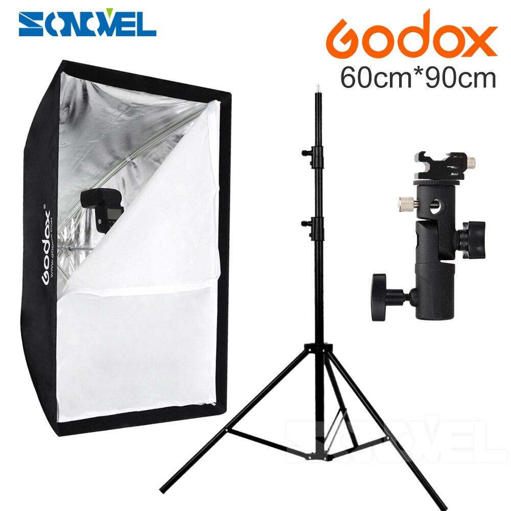 Godox 60x90cm umbrella softbox +hot shoe bracket+190cm light stand kit for Speedlite Flash