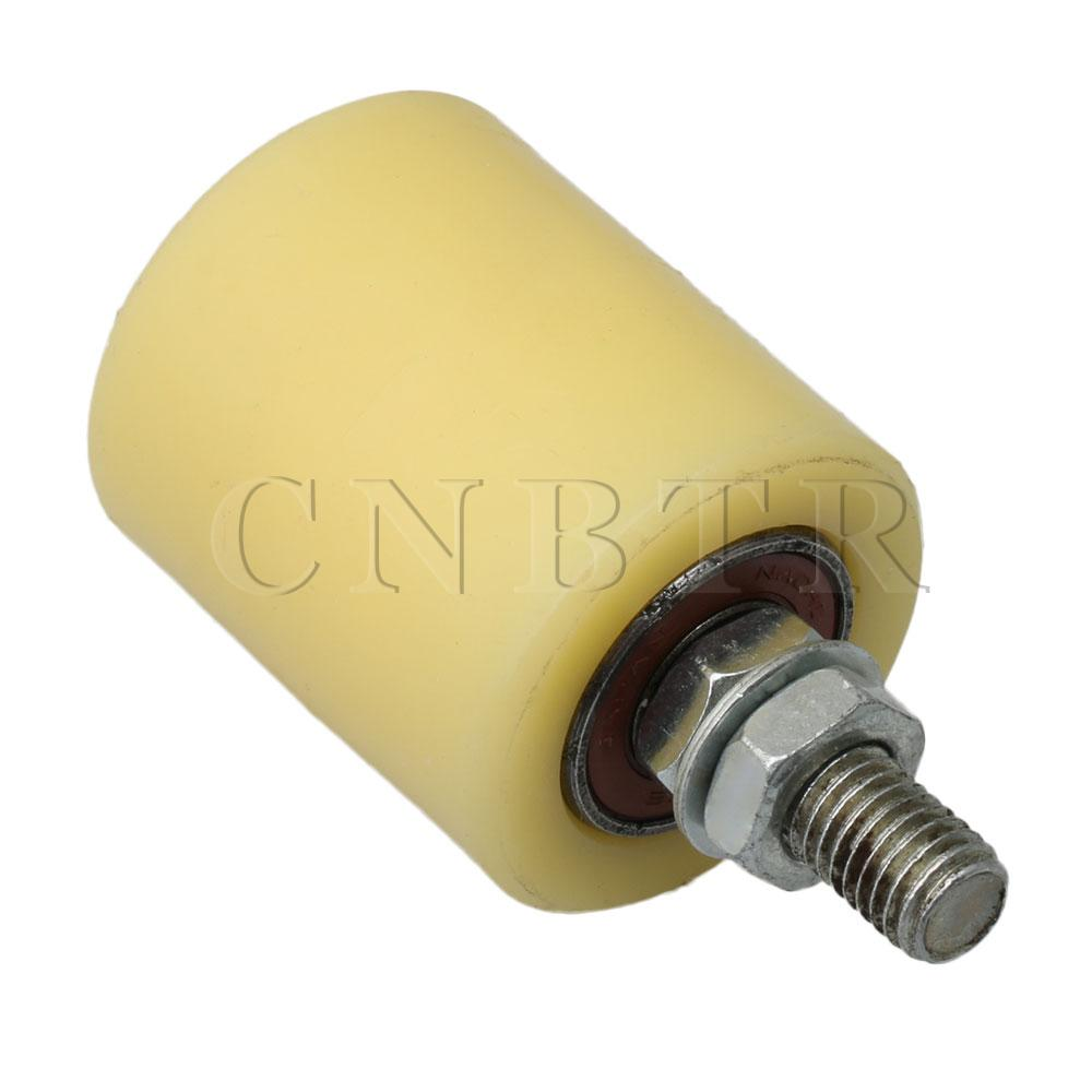 CNBTR 50x60mm Plastic Steel Flat Roller Bearing Guiding Wheel Idler M10 Threaded Rod 6200 For Electric Door Sliding Gate