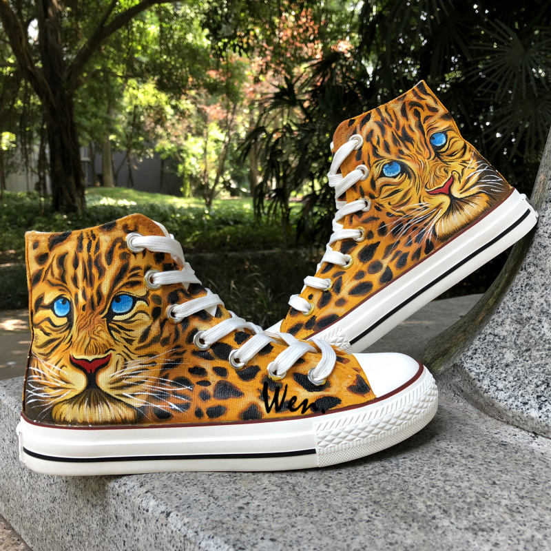 6b8ca54b24715 US $86.0 |Wen Hand Painted Shoes Design Custom Leopard Cheetah Men Women's  Canvas Sneakers For Boys Girls Birthday Gifts-in Skateboarding from Sports  ...