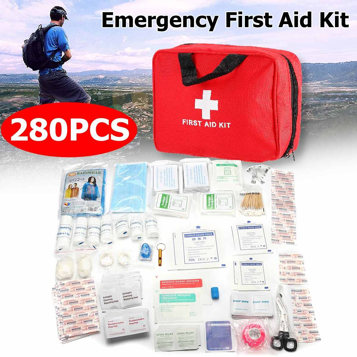 Portable Medium Empty Household Multi-Layer First Aid Kit Pouch Outdoor Car Bag First Aid Bag 192/215/280PCS