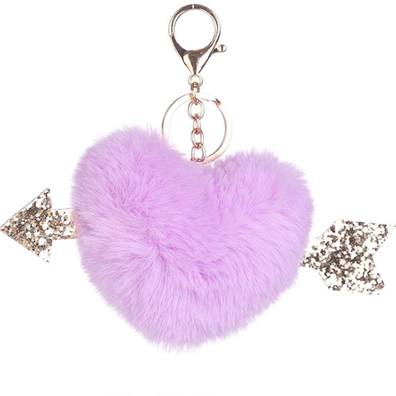 Sweet Fluffy: Sweet Fluffy Pompom Keychains Soft Heart Shape Faux Rabbit