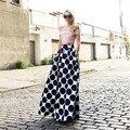 High Quality 7XL Plus Size Vintage Dot Printed TuTu Autumn Spring High Waist Faldas Elegant Long Maxi Skirts For Women