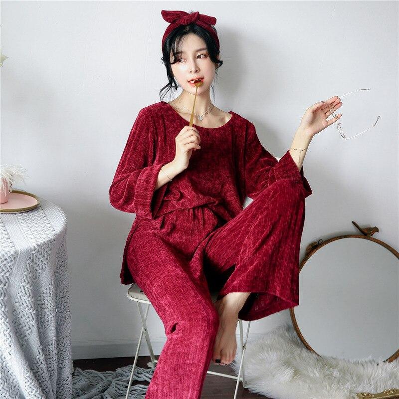 2 Piece Flannel Pajamas Set Women Night Wear Pyjamas For -2098