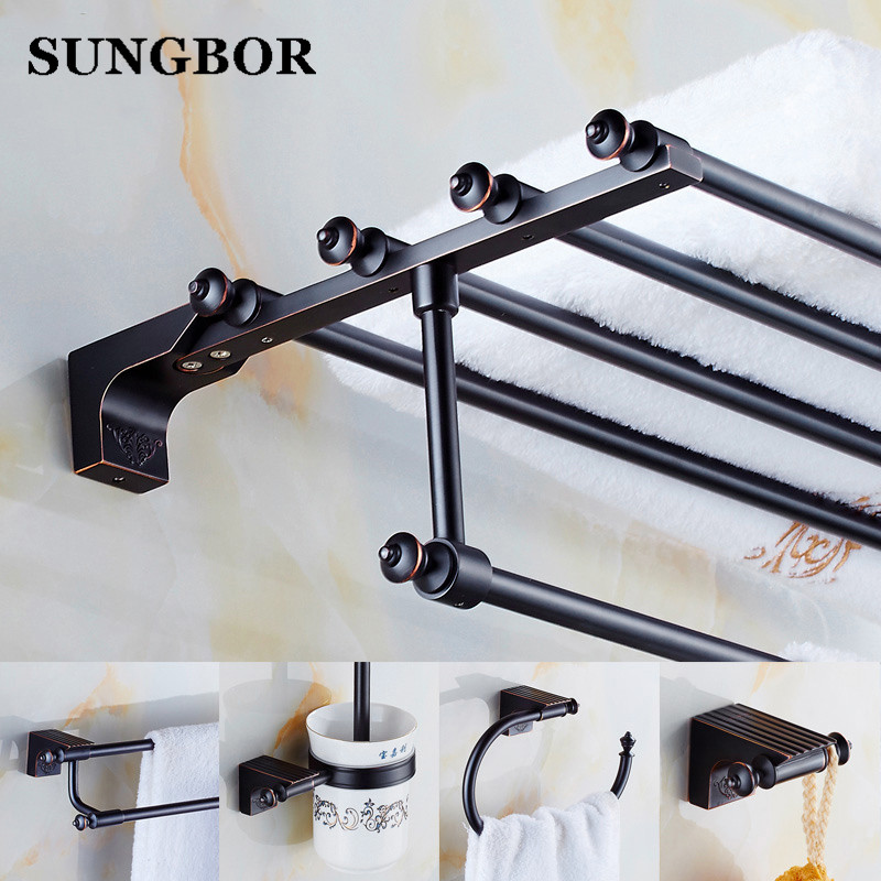 купить Antique Brass Bathroom Hardware Pendant Set Copper Black Rack Combination 2 Towel European Style Bathroom Accessories Set по цене 1127.4 рублей