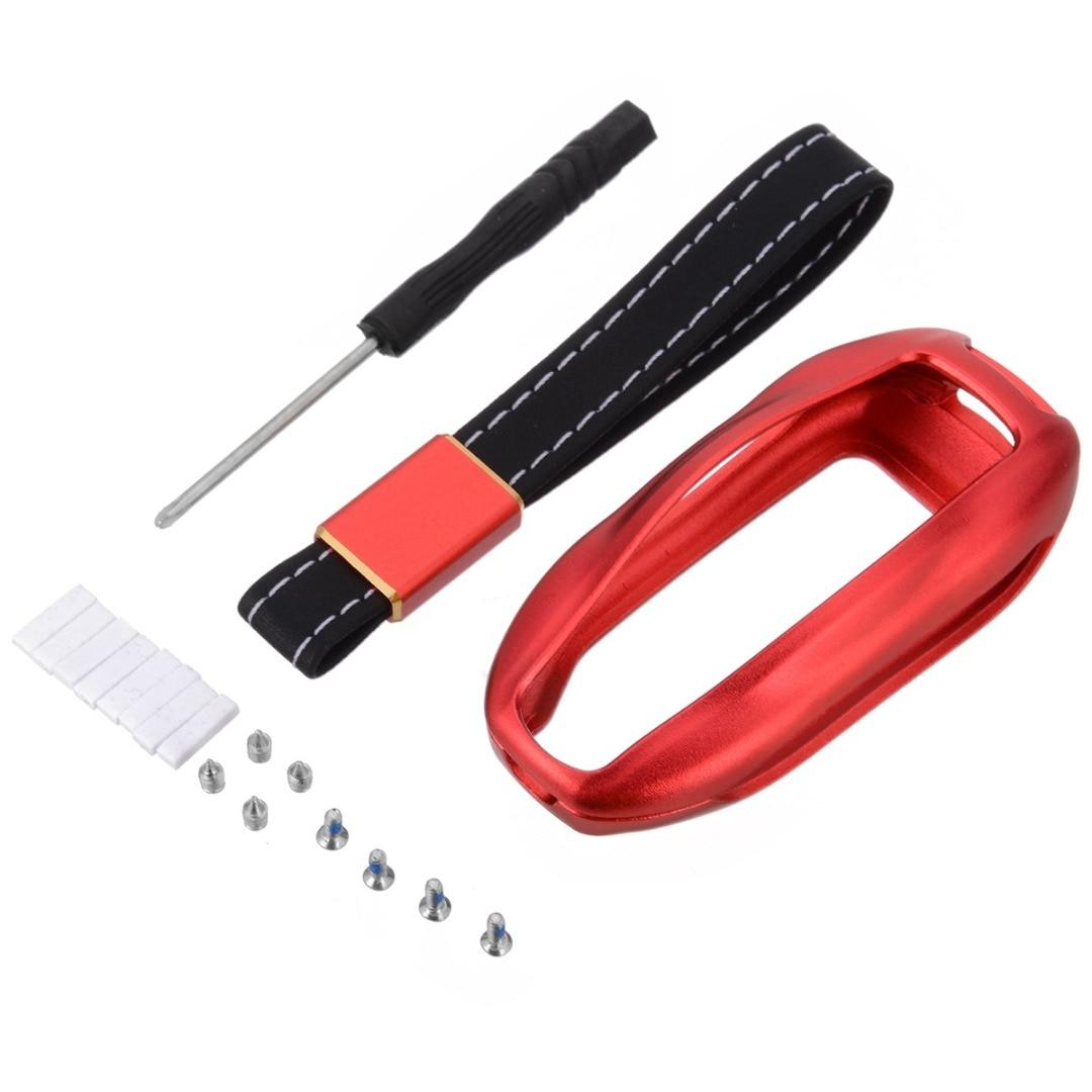Car Key Fob Case Aluminum Leather Fashion Car keys Protective Cover Holder 6 Colors  For Tesla Model S