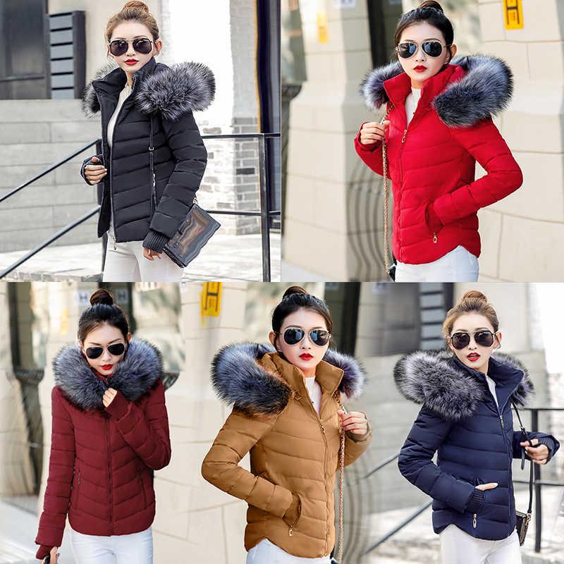 2019 winterjas Vrouwen Parka Bovenkleding Vrouwelijke Down Jas Met Nep Bont Kraag Plus Size S-XXL Dikke Lange vrouwen Winter Jas