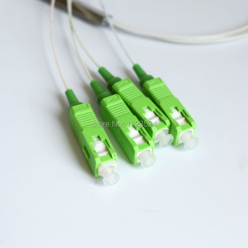 Купить с кэшбэком Free Shipping 10pcs/lot 0.9mm Steel Tube 1x4 Mini Blockless SC/APC Fiber Optic PLC Splitter