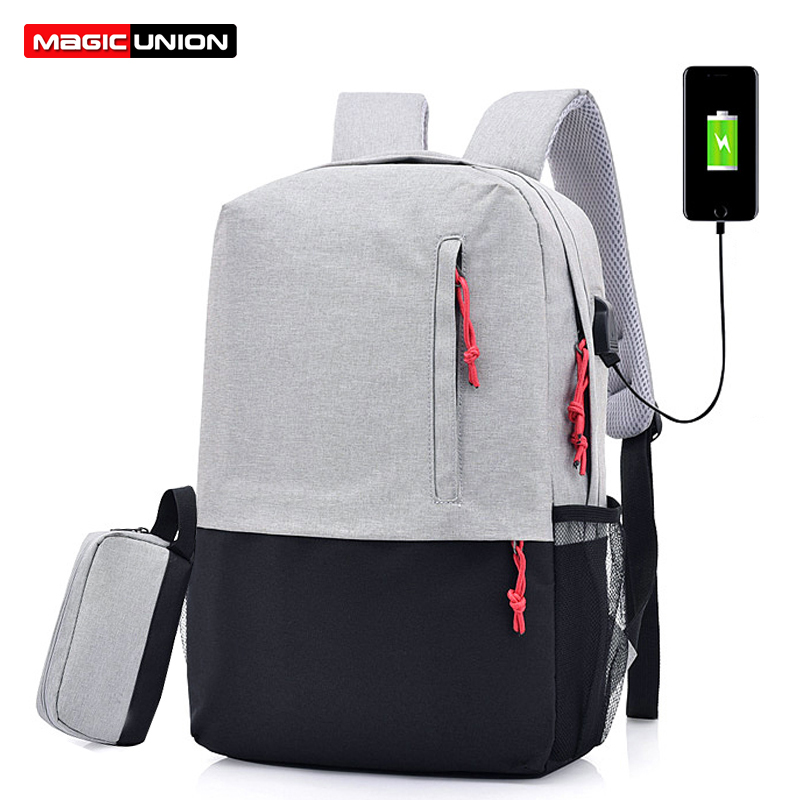 MAGIC UNION Men Laptop Backpack For 15.6 inch USB Charging Backpacks Computer Anti-theft Bags Male Gray Daypack Women Mochila sopamey usb charge men anti theft travel backpack 16 inch laptop backpacks for male waterproof school backpacks bags wholesale