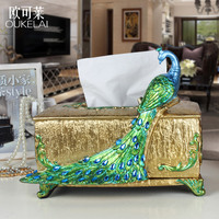 Hotel Dining Room Decoration Decoration Square Box Drawing Peacock Retro Embossed Resin Gifts