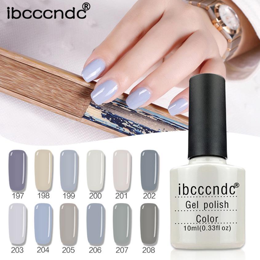 Ibcccndc 2018 10ML Natural 12 Colors Nail Gel UV LED Nail Polish Soak Off Long Lasting Nail Gel Nail Art Manicure Tools uv set