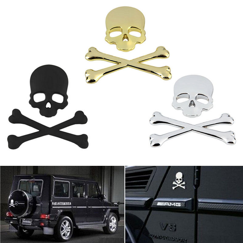 Skull Bone Car Auto Chrome Black/Gold/Silver 3D Metal Emblem Badge Decal Sticker mayitr metal 3d black limited edition sticker universal car auto body emblem badge sticker decal chrome emblem car styling