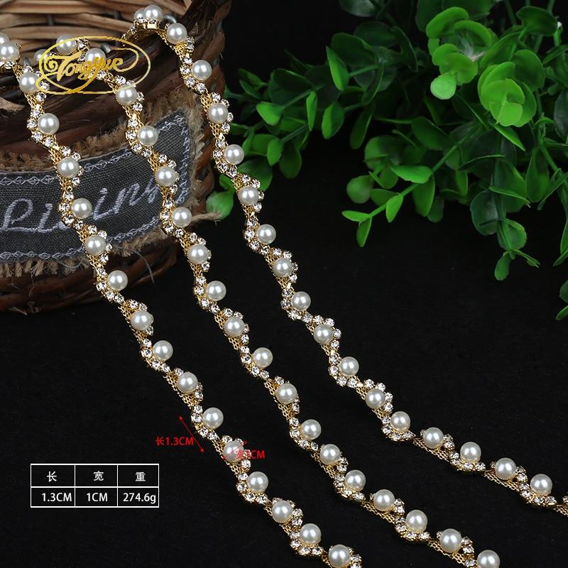 1 Yd Aloi Rantaian Mutiara Asas Pakaian Perhiasan Ornamen Silver Trim - Seni, kraf dan jahitan - Foto 2