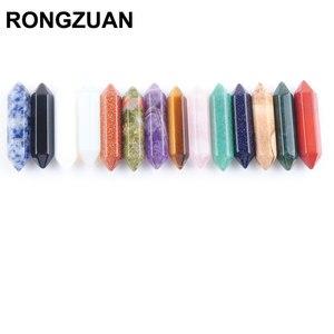 Free shipping Natural Mixed Gem Stone Hexagonal Healing Pointed Reiki Chakra No Drilling Hole Pendant Jewelry 1Pcs TBU307(China)