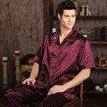 Verano Para Hombre Pijamas de Satén Pijamas de Manga Corta ropa de Noche Masculina Ocasional Da Vuelta-abajo Salón Sueño Homewear Pijama Más El Tamaño