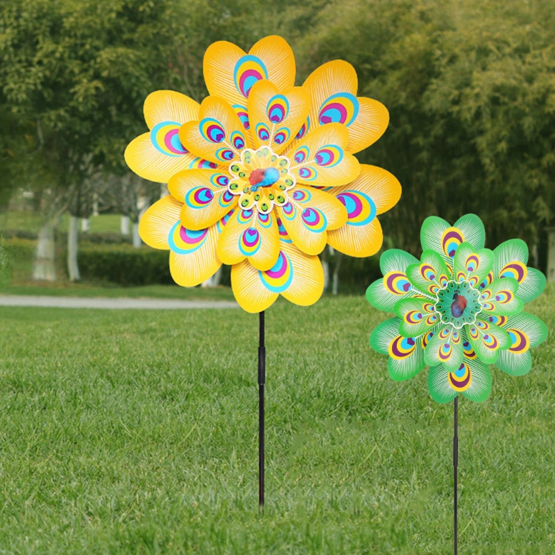 Classic Toys Wind Spinner Double Layer Flower Pinwheel Butterfly Kids Children Toys Garden Decoration Party Home Ornament Outdoor Games Funny